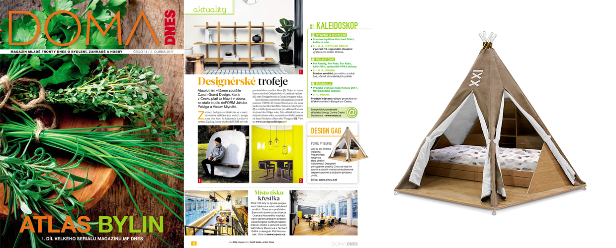 Doma Dnes 2017 Press Clipping of Circu Magical Furniture Luxury brand for children