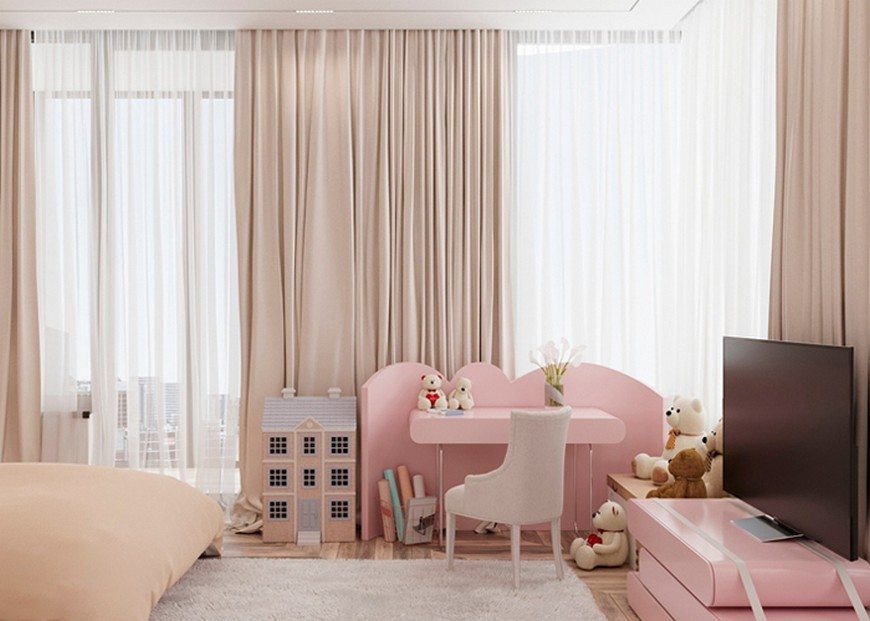 Functional and Dreamy Kids Desk in Pastel Pink Girls Room