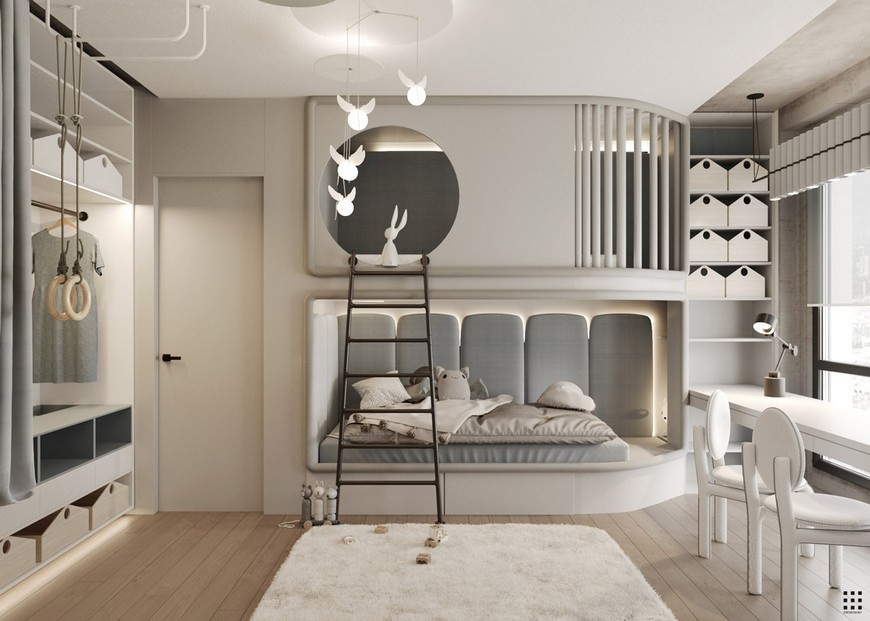 Modern Nursery Room in Palm Apartment by Zrobym Architects 7