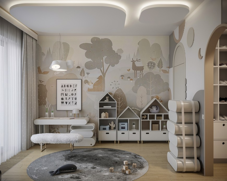 Cloudy Kids Bedroom Design with Modern Elements kids bedroom design Kids Bedroom Ideas to Sleep in the Clouds Cloudy Kids Bedroom Design with Modern Elements 3