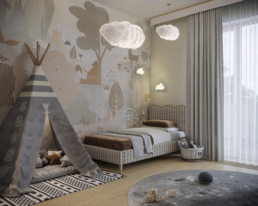 Cloudy Kids Bedroom Design with Modern Elements kids bedroom design Kids Bedroom Ideas to Sleep in the Clouds Cloudy Kids Bedroom Design with Modern Elements 4