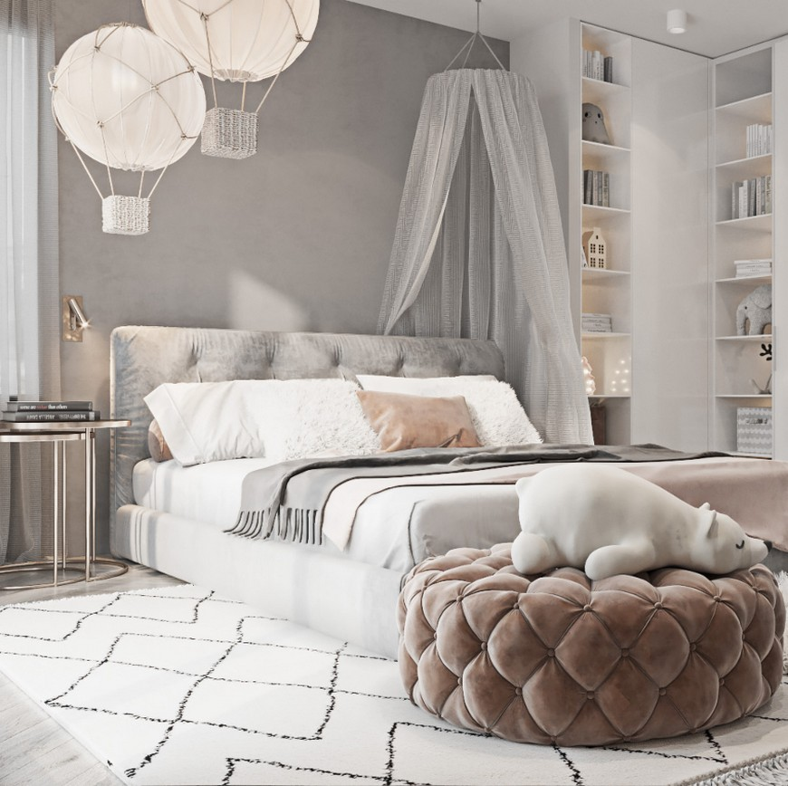 Contemporary Girl's Bedroom in Soft Tones