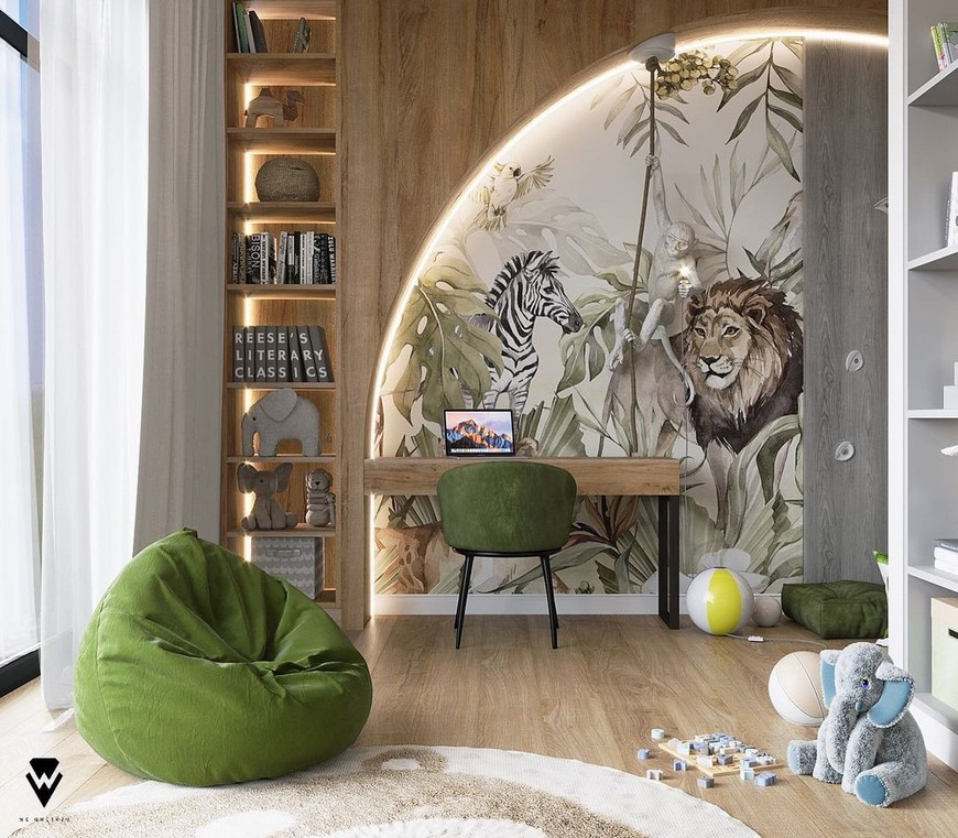 Jungle-Themed Kids Bedroom by We Wnętrzu