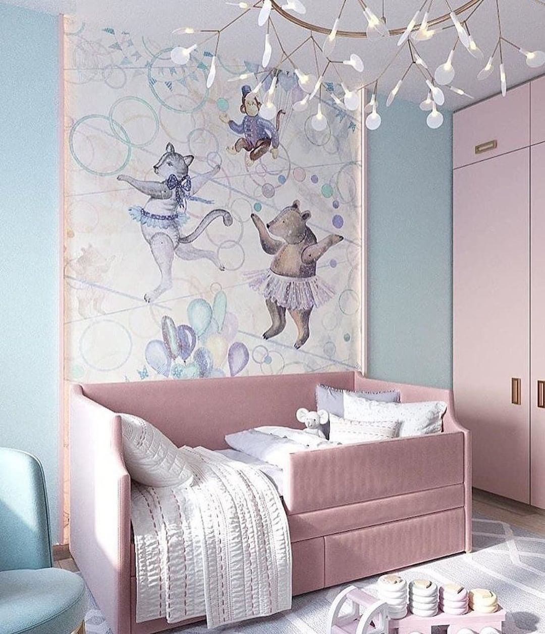 Soft-Toned Nursery Room in Blue and Pink by Vizzos