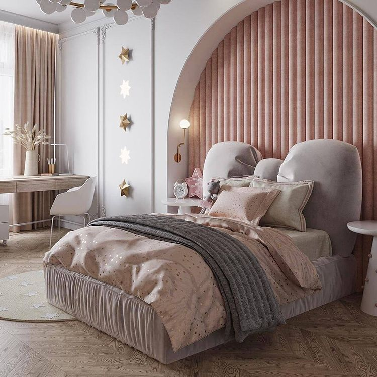 Modern Contemporary Girls Bedroom In Soft Tones