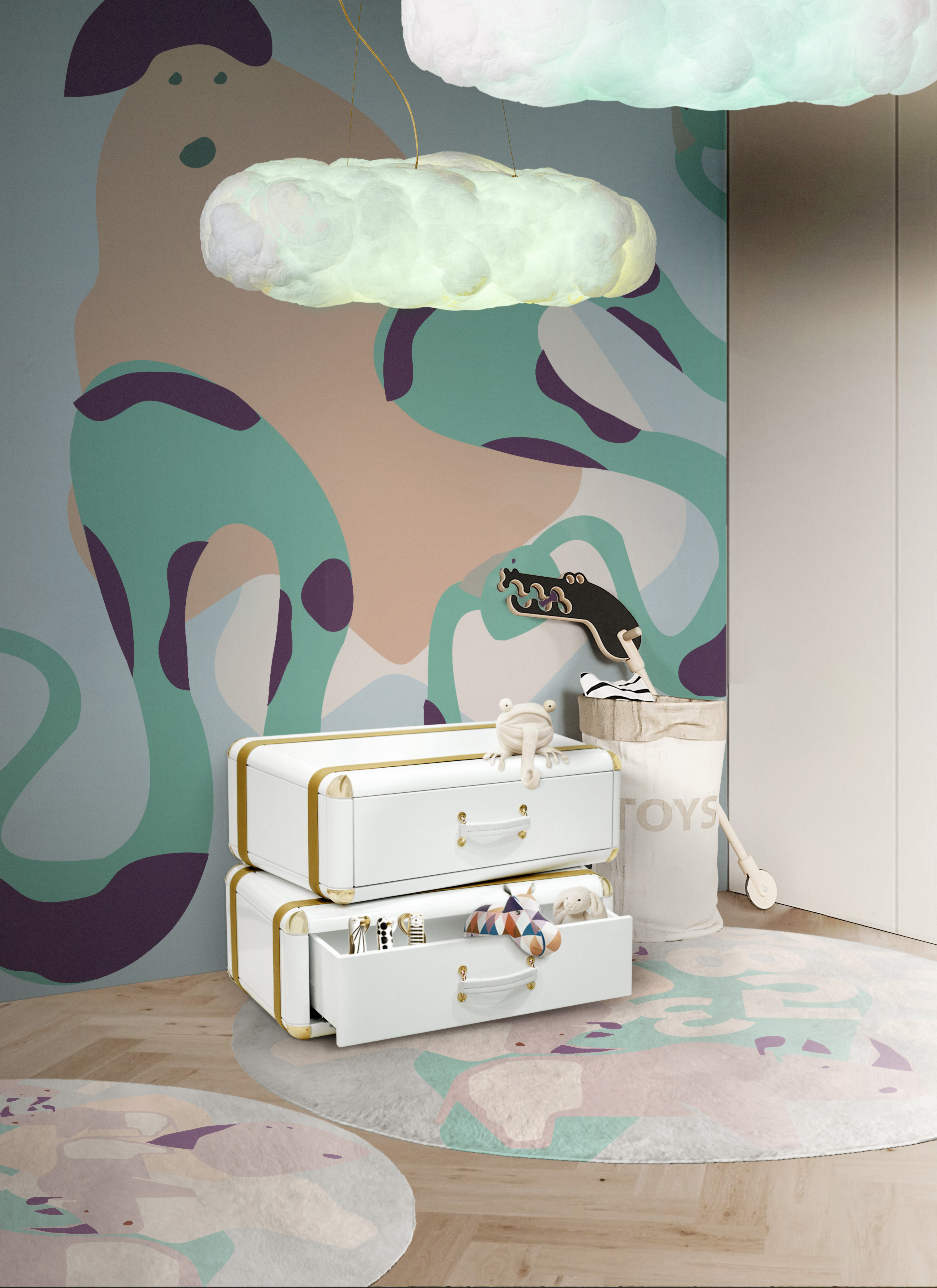Luxury kids room essentials: a vintage-inspired nightstand with an extraordinary design