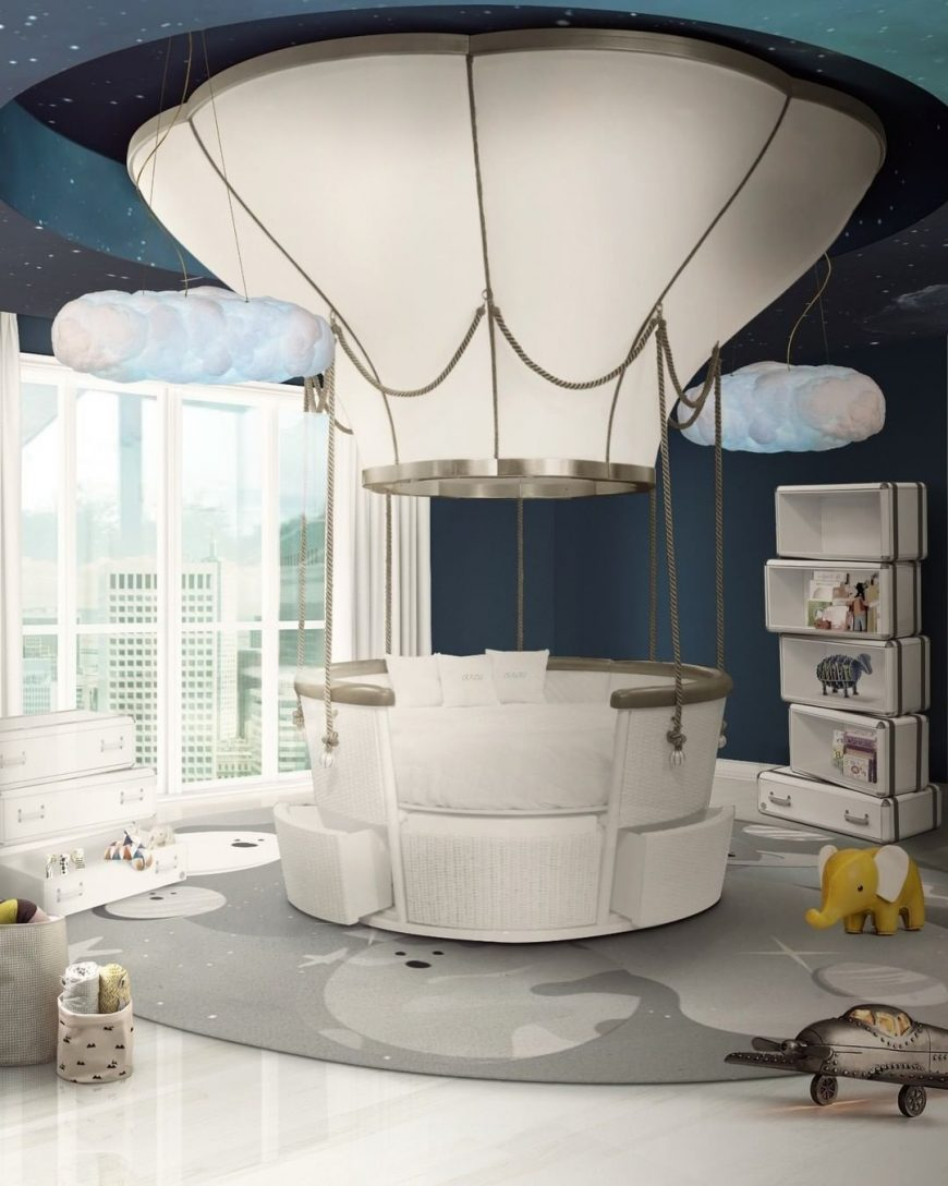 Luxurious Kids Bedroom with a Unique Bed