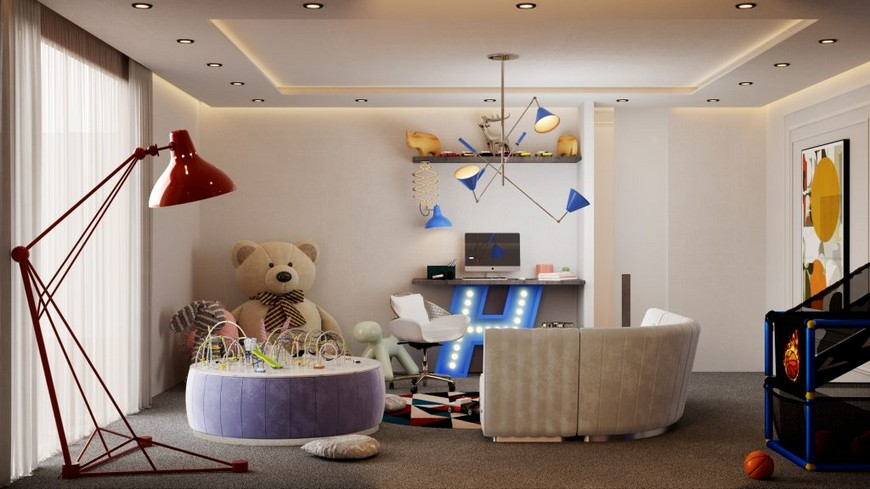 Luxury kids room in a mid-century modern Townhouse in New York
