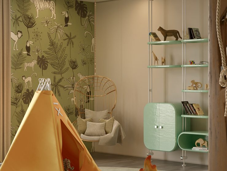 Luxury kids playroom design with a jungle theme