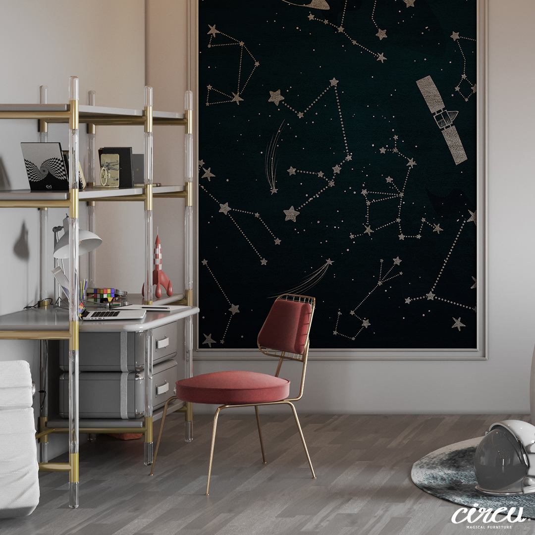 Luxury kids study area with a space theme decor