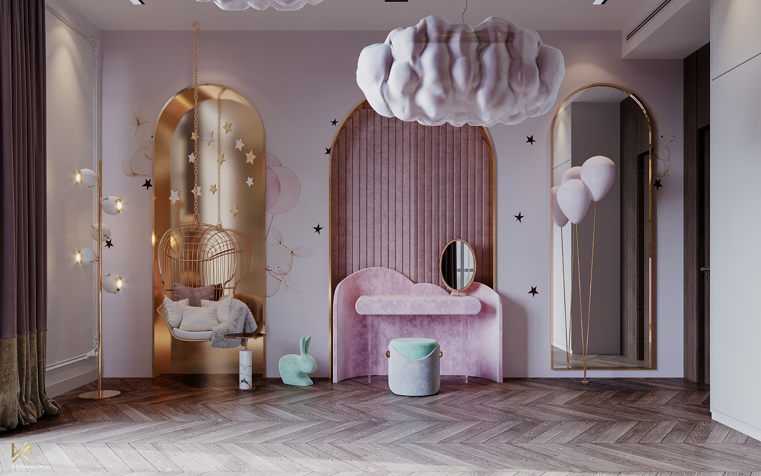 Luxury Girls Room: In a Cloudy Sky, be a golden star-6