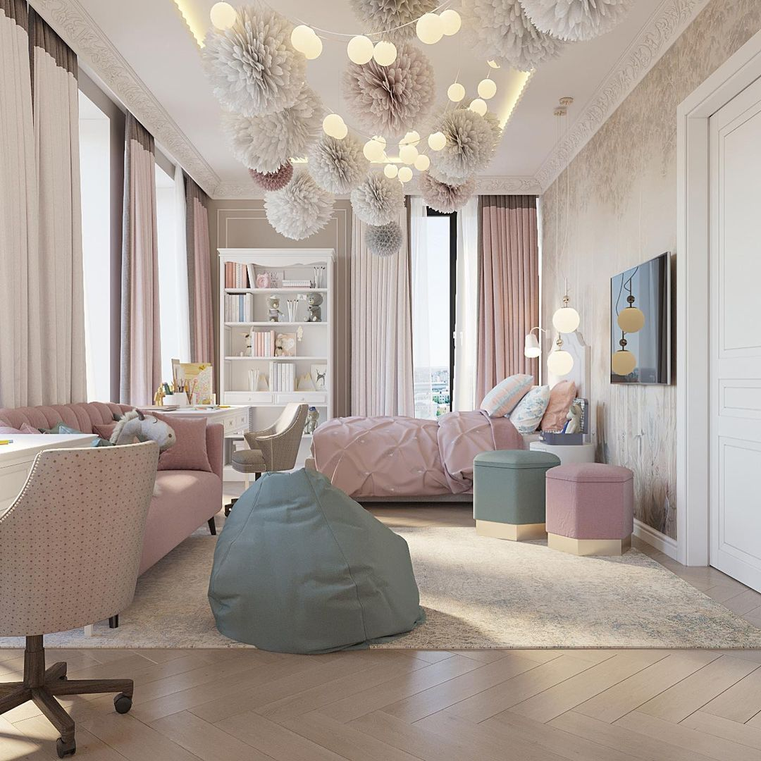 An Adorable Shared Bedroom for two little girls by Innaa Zorskaya