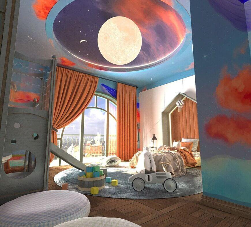 Neutral-Gender Kids' Room With The Amazing Moon Rug
