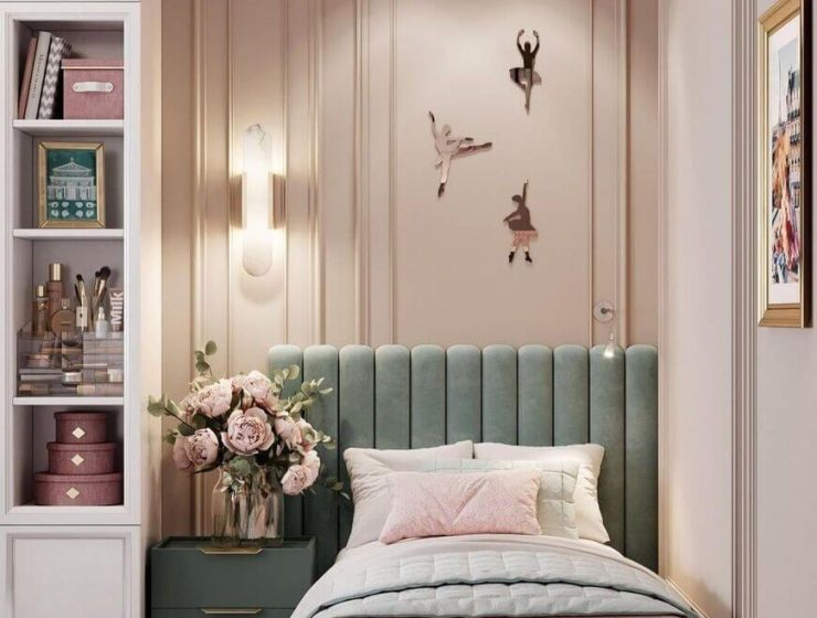 Sweet Girls' Room In Pink And Green Shades