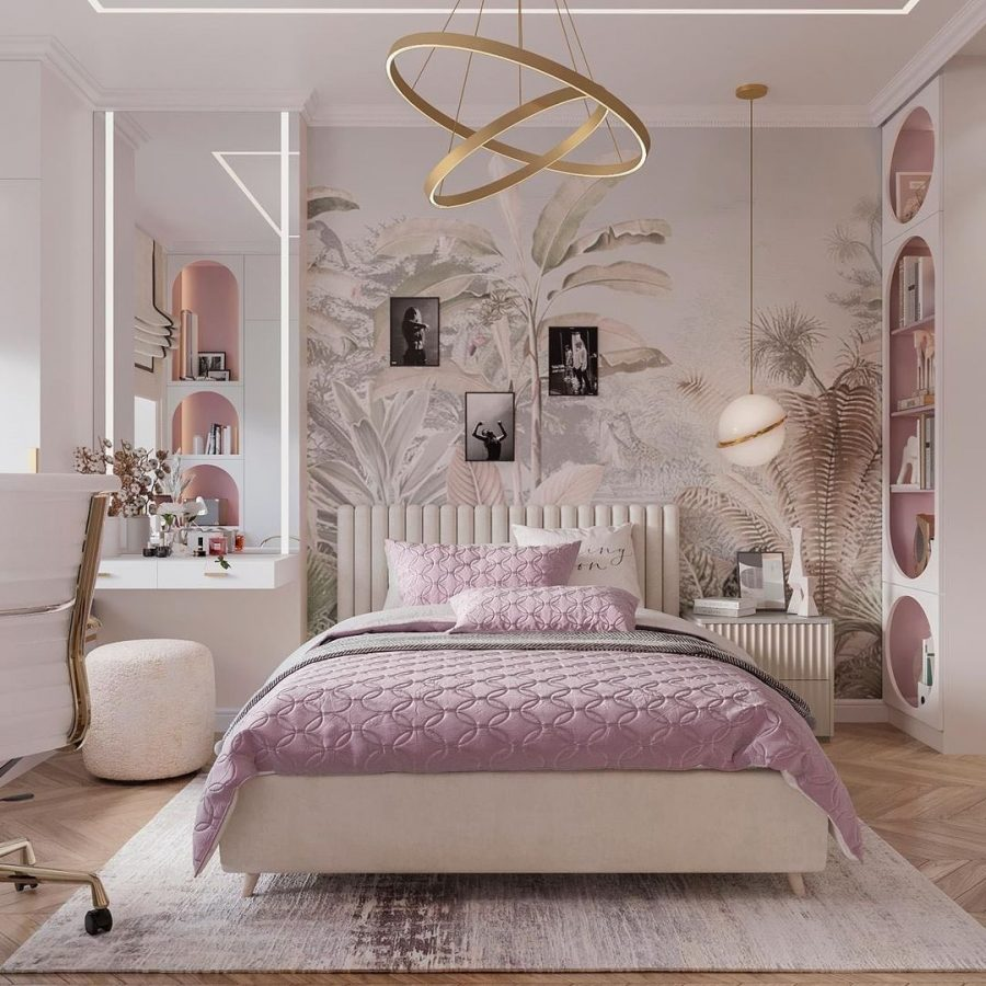 Luxurious Pink Bedroom Design by Marideco