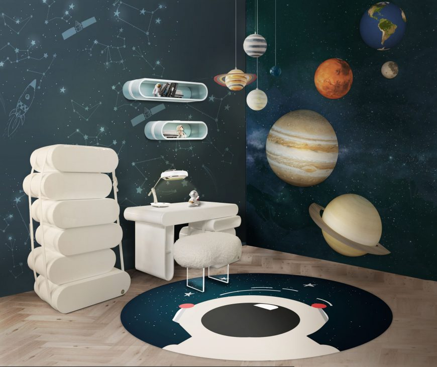Fun Study Area Design for a Kid's Room with a Planetary Inspiration