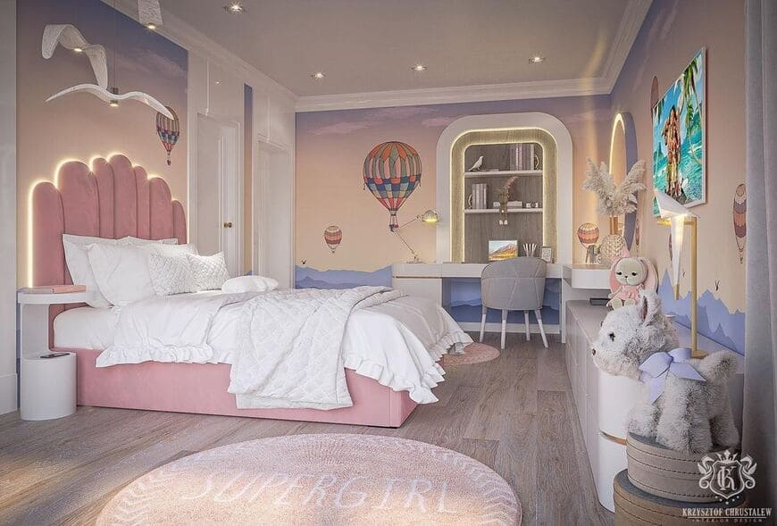 Girls' Room In A Soft Pink Color