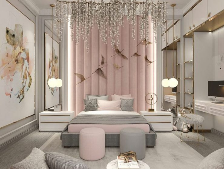 Beautiful Girl's Bedroom Design by The Haute Interiors featuring an elegant combination of Pink and Grey tones for the most luxurious space.