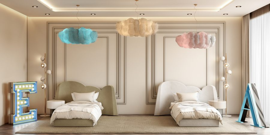 Neutral Kids Bedroom with a Cloud-inspired Decor